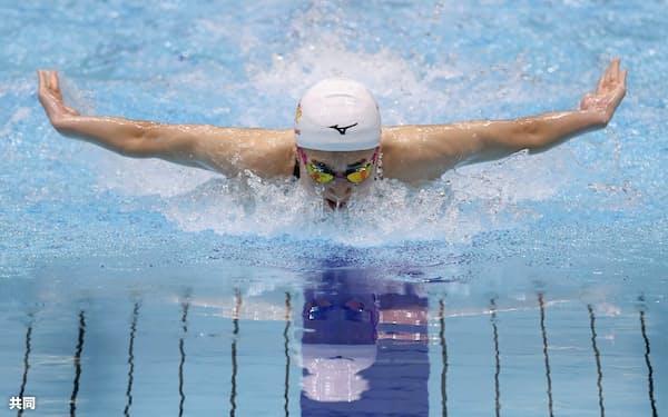 競泳の東京都オープン女子100メートルバタフライで、59秒44の3位に入った池江璃花子(20日、東京辰巳国際水泳場)=共同