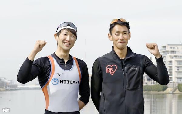 アジア・オセアニア予選出場が決まった西村(右)、古田組(5日、戸田漕艇場)=共同