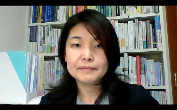 オンライン取材に応じる工学院大の安部芳絵准教授