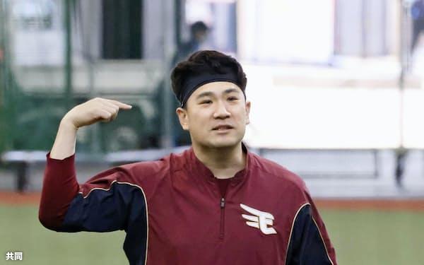 今季初登板に向けて調整を続けている楽天・田中将(7日、メットライフドーム)=共同