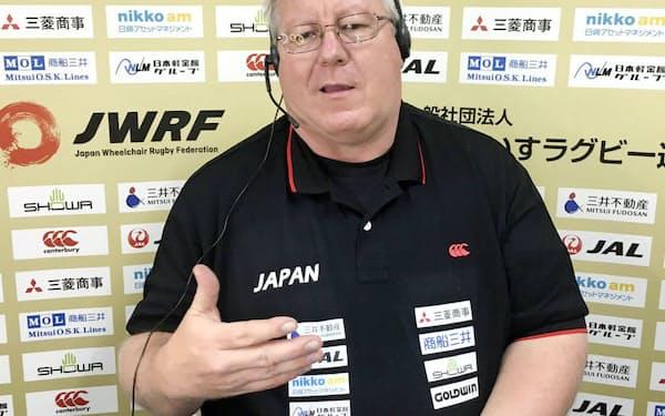 オンラインで取材に応じる車いすラグビー日本代表のケビン・オアー監督(4日)=日本車いすラグビー連盟提供・共同