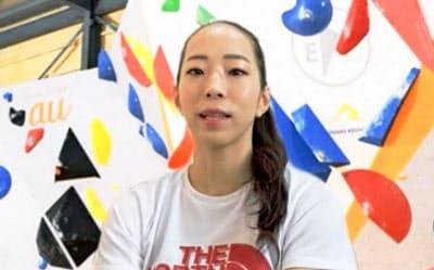 オンライン取材に応じるスポーツクライミング女子、東京五輪代表の野口啓代(14日)=共同