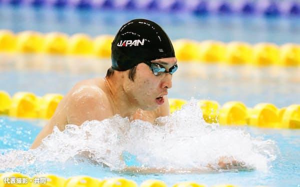 200メートル個人メドレーのタイムトライアルを行った萩野公介の平泳ぎ(26日、長野市アクアウイング)=代表撮影・共同
