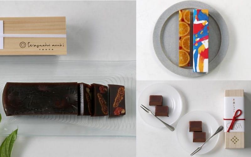 写真左はドライフルーツの羊羹、右上が燦々、右下が羊羹ショコラ