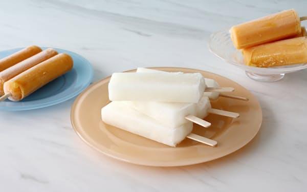 (左から)雪師 みかん、手しぼりの柚子アイスキャンデー、茨城メロン100%アイスキャンデー