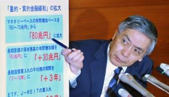 追加金融緩和について記者会見する日銀の黒田総裁(31日午後、日銀本店)