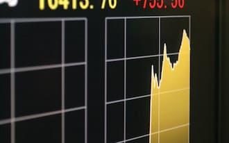 前日比755円値上がりして取引を終えた日経平均株価(10月31日午後、東京・丸の内)