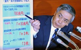 追加金融緩和について記者会見する日銀の黒田総裁(10月31日、日銀本店)