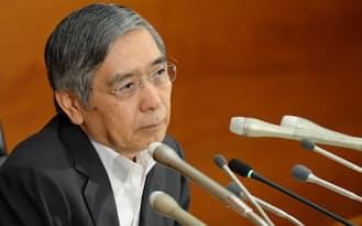 記者会見する黒田日銀総裁(9月、日銀本店)