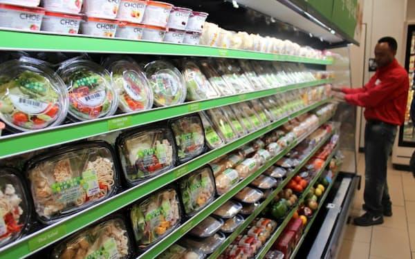 都市型店ではサンドイッチやサラダなど軽食売り場を2倍に拡大する(テキサス州ダラス)