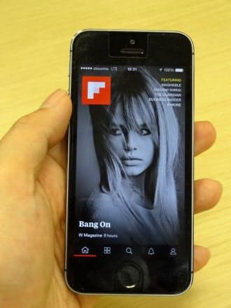 米フリップボードが刷新したアプリ。画面全体にコンテンツを表示し、下部にナビゲーションボタンを配置した