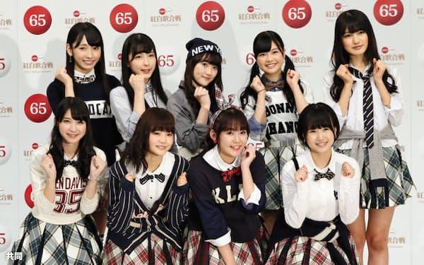 第65回、NHK紅白歌合戦への初出場が決まった「HKT48」のメンバー(26日、東京・渋谷のNHK放送センター)=共同