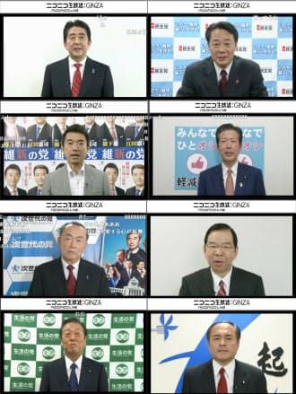 ネット上では2日午前0時から事実上の選挙戦が始まり、動画配信サイト「ニコニコ動画」は与野党8党首の訴えを公開した