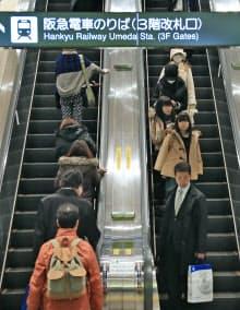 右側に人が立っている阪急梅田駅改札前のエスカレーター(大阪市北区)