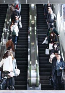 左側に人が立っているエスカレーター(東京都渋谷区)