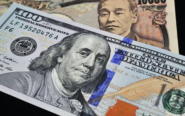 100ドル札と1万円札