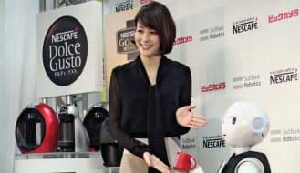 ネスカフェはコーヒーマシン売り場の接客用にペッパーを導入
