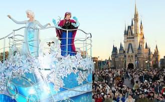 東京ディズニーランドで始まった新パレード「アナとエルサのフローズンファンタジー」(千葉県浦安市)