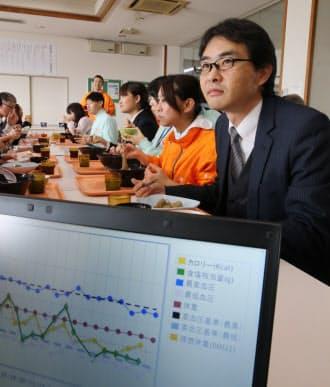 社員食堂で食べた食事情報の履歴が個人のパソコンに表示される(広島市のオタフクソース)