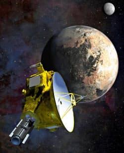 冥王星に近づく無人探査機「ニューホライズンズ」のイラスト(NASA提供)