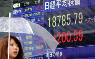 前日比200円高で取引を終えた日経平均株価(26日、東京・八重洲)