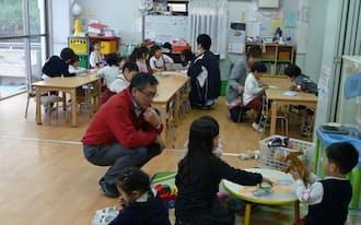 幸ケ谷幼稚園では預かり保育を充実させ、保育園出身の3歳児を受け入れている(横浜市)