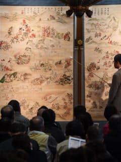 毎年4月17日に開催されている三木合戦軍図絵解き(兵庫県三木市の法界寺)