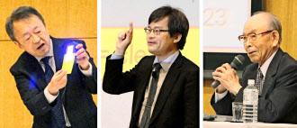 学生らに向け講演する(右から)赤崎勇名城大終身教授、天野浩名古屋大教授、池上彰氏(4月25日、名古屋市の名城大)
