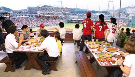 マツダスタジアムではパーティーのようなスタイルで野球観戦を楽しめる席も=広島東洋カープ提供