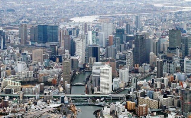 高層ビルが並ぶ梅田など大阪市中心部