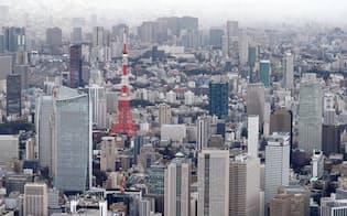 東京タワー周辺のビル群