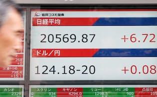 12営業日連続で上昇した日経平均株価(1日午後、東京都中央区)