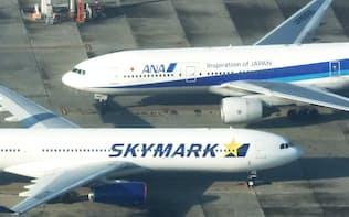 スカイマークと全日空の航空機(羽田空港)