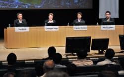 討論する(左から)中国・華為技術の閻力大・法人向けICTソリューション事業グループプレジデント、ノキアのジュゼッペ・タルジア(セキュリティ担当)バイスプレジデント、NTTファシリティーズの筒井清志社長、米コーネル大のホッド・リプソン教授(9日、東京・大手町)
