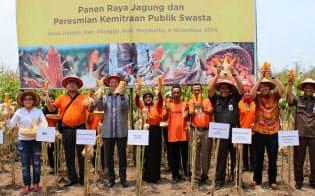 インドネシアのピサグロ・プロジェクトの収穫のお祝い(モンサント社提供)