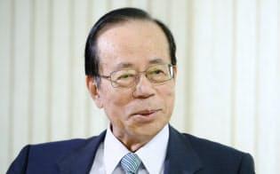 「アジアがまとまる一番の基礎は日韓だ」と話す福田元首相(東京都港区)
