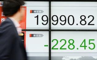 2万円を割って取引を終えた日経平均株価(18日午後、東京都中央区)