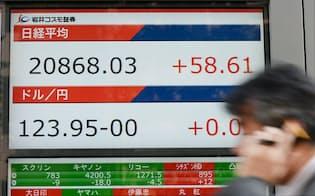 2万868円台で取引を終えた日経平均株価(24日午後、東京都中央区)