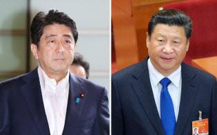 首相官邸に入る安倍首相(6日)と全人代に出席した中国の習近平国家主席(3月15日)