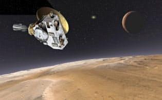 冥王星に近づく探査衛星「ニューホライズンズ」(想像図)右上は冥王星の衛星カロン=米航空宇宙局(NASA)提供