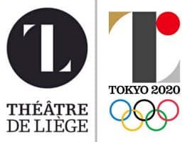 ベルギー・リエージュ劇場のロゴ(左)と2020年東京五輪の公式エンブレム=共同