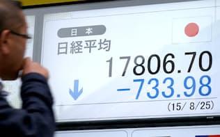 700円以上値を下げ、1万7800円台で取引を終えた日経平均株価(25日午後、東京都中央区)