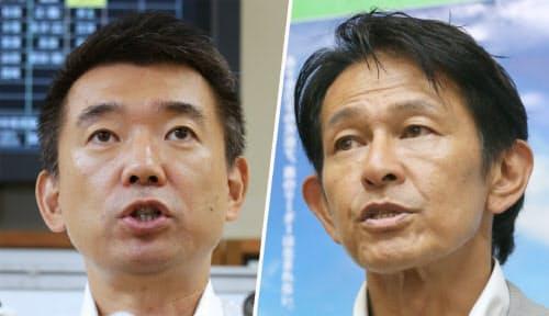 橋下氏(写真左)による分党の要望を維新の党の松野代表(写真右)が受け入れるかがポイントになりそうだ
