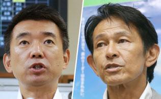維新の党の松野代表(写真右)とおおさか維新の会を立ち上げた橋下氏(写真左)。当面の関門は来夏の参院選だ