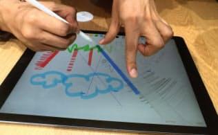 大型化した「iPadプロ」はペン入力が可能。筆圧まで精緻に遅延なく反映される。直線が引ける機能もある
