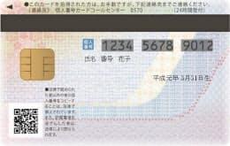 マイナンバーの個人番号カード(裏)