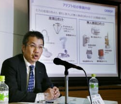米社買収を発表するオムロンの宮永執行役員専務(16日、大阪市中央区)