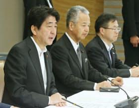 TPPに関する主要閣僚会議であいさつする安倍首相(25日、首相官邸)
