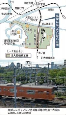 高架になっていない大阪環状線の京橋―大阪城公園間。左奥は大阪城