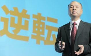 決算発表するソフトバンクの孫正義社長=2014年5月7日午後、東京都中央区。